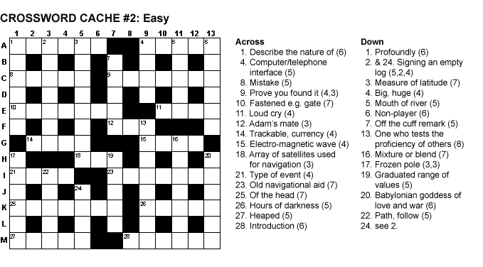 GC1N6V7 CROSSWORD CACHE #2: Easy (Unknown Cache) in Eastern England ...